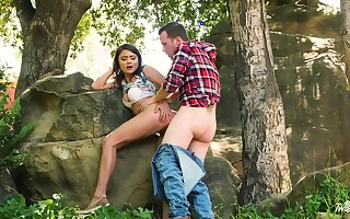 Adria Rae together with her beau head to chum around with annoy woods for a wonderful bang
