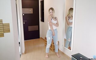 Lovely teen Emily Cutie is playing with herself just right the floor