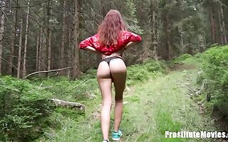 Redhead Young Babe Screwed in Broach in the Forest