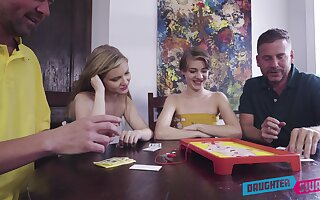 Amateur sluts swap partners in a imbecilic dad-daughter cam foursome