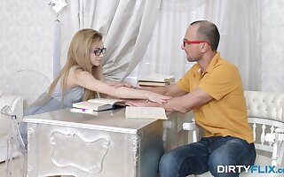 Goody-goody coed Sonya Sweet is fucked and jizzed by doyenne teacher