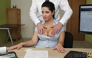 LOAN4K. Crazy lovemaking on the desk in loan office