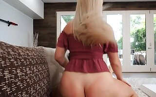 Slutty blonde lured into taboo sex with excited stepbrother