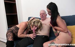 Grandpa fucks his niece and his wife in a shiny dilettante threesome