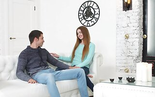 Cute Russian girlfriend Melissa Benz moans during passionate dicking