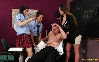 CFNM video be advantageous to four man procurement handjobs from three sexy girls