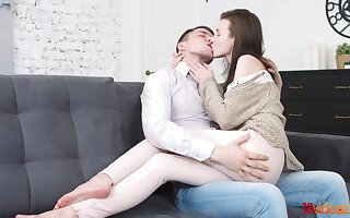 Charming student distance from Russia Lena is making love with her first boyfriend