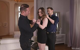 Gagged blonde roughly fucked in maledom threesome