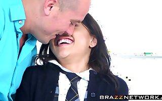 Schoolgirl Holly Hendrix gets slammed hard in a classroom