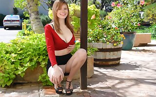 Gorgeous ginger teen Gwen flashes her tits in public