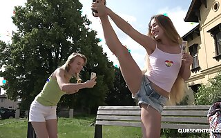 Picnic in nature turns to lesbian sex adventure for horny Candy Teen