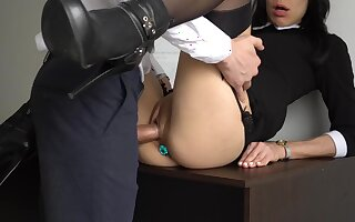 french secretary with butt plug amateur porn