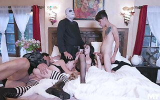 Literal role play in group scenes for be imparted to murder horny lovers
