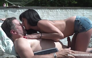 Handsome young chick living nextdoor shows perky tits to aged neighbor