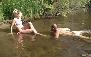 Insouciant fucking by an obstacle lake with scrupulous boobs amateur Marchy Rock