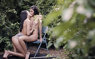Back yard seduction in scenes be expeditious for lesbian foreplay