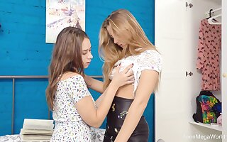 Smooth lesbian sex between adorable lam out of here Theatre troupe Elison and Kecy Sublimity