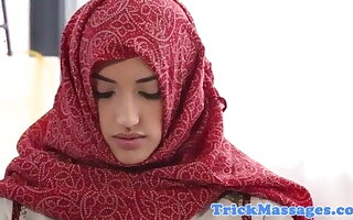 Arab teen in hijab came to massage
