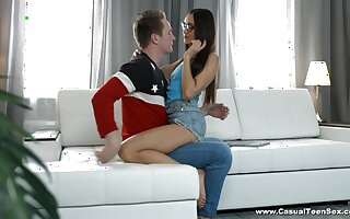 Girlfriend Aziza loves to be fucked by their way boyfriend on the love-seat