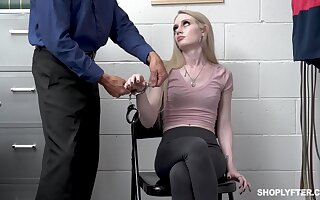 Shoplifting girl Emma Starletto is punished by weirdo security guy